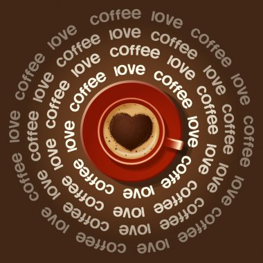 red cup of heart in Cappuccino