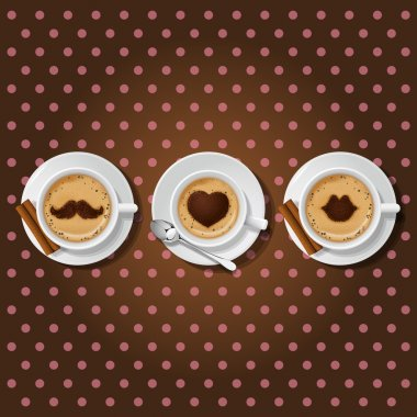 3 cups of cappuccino with love symbol
