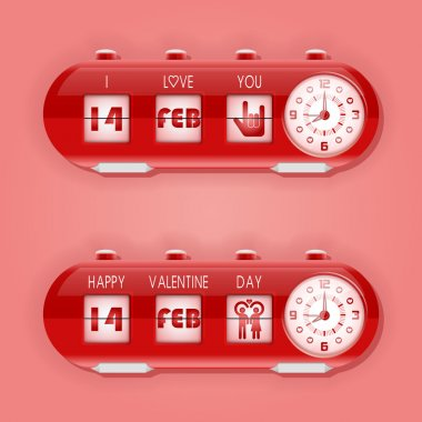 Table flipping clock and calendar for Valentine day (14th February) stock vector
