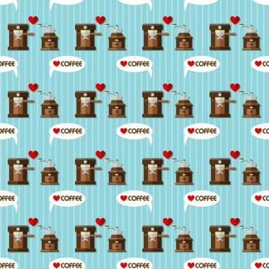 coffee machine and coffee grinder seamless pattern