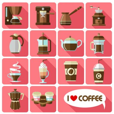flat icons with long shadow of coffee