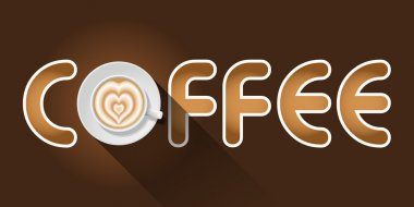 coffee word with top view of Latte art cup