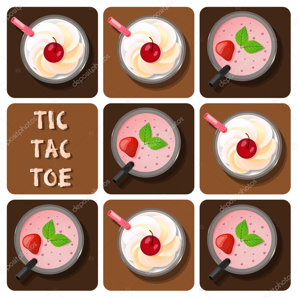 Tic-Tac-Toe of milk shake and strawberry smoothie