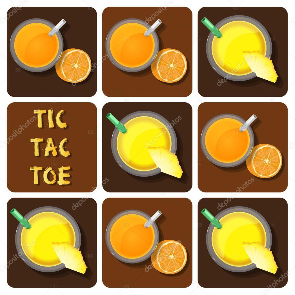 Tic-Tac-Toe of pineapple juice and orange juice