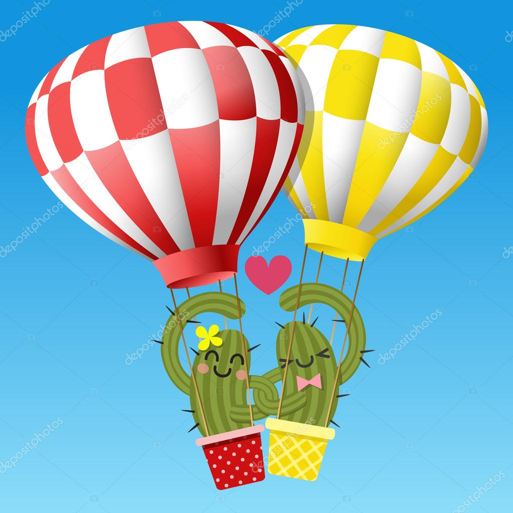 loving couple of cactus arm in arm with hot air balloon