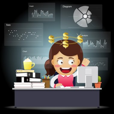 Happy business woman working on computer with data processing