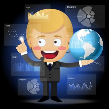 Happy businessman with globe working with data processing