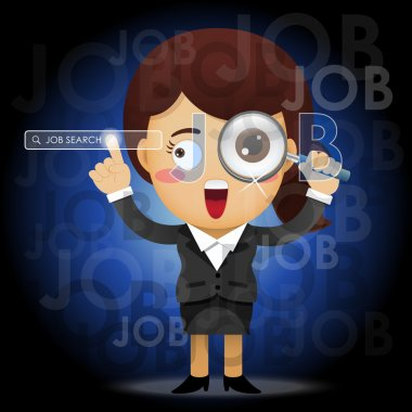 business woman with magnifying glass searching for job