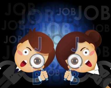 businessman and woman with magnifying glass searching for job