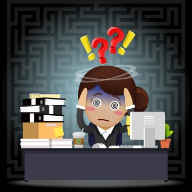Confused business woman with question and exclamation mark working on computer at desk stock vector