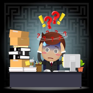 Confused businessman with question mark working on computer at desk stock vector