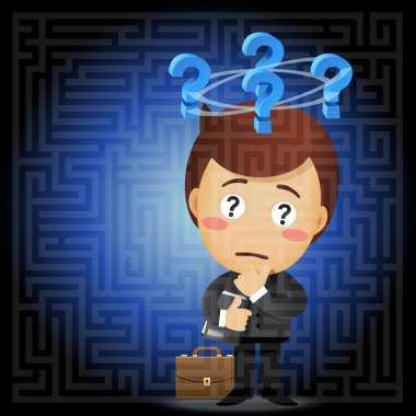 Confused businessman with question mark solving the solution of a complex maze stock vector