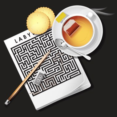 illustration of labyrinth game with hot tea and cracker