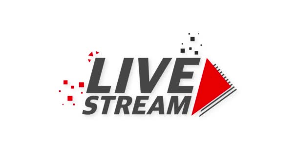 Live streaming logo - red design element with play button for news and TV or online broadcasting. Motion graphics.