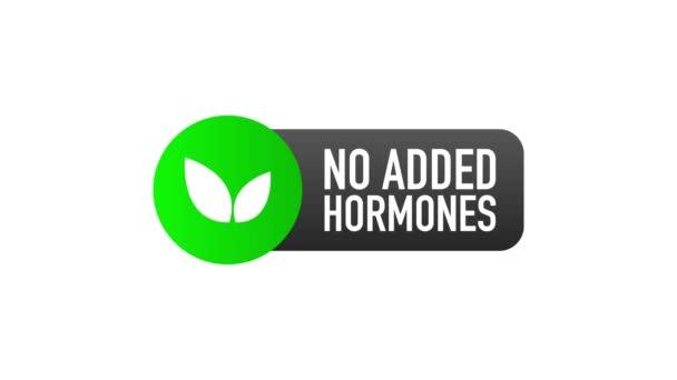 Bez přidaných hormonů zelený štítek v plochém stylu na bílém pozadí. Pohybová grafika.