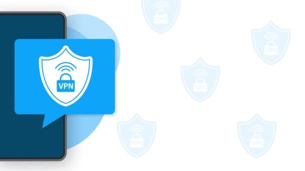 VPN flaches blaues sicheres Label auf weißem Hintergrund. Bewegungsgrafik.