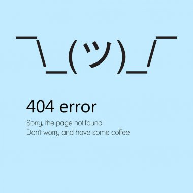 Sign shrugs shoulders. Message about Page not found Error 404