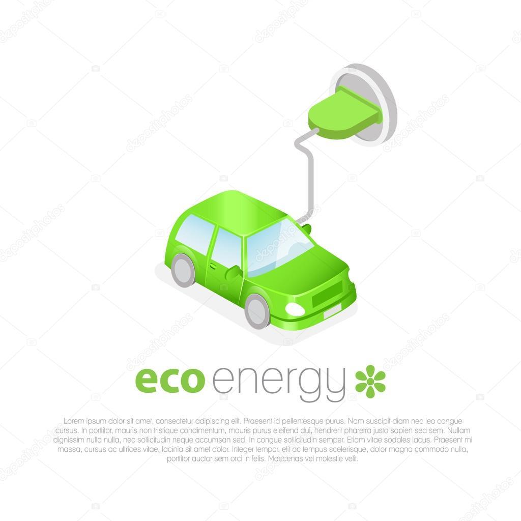 Elektrische Auto Opladen Eco Energy Concept Pictogram Stockvector