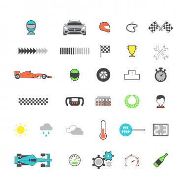 Racing colored icon set
