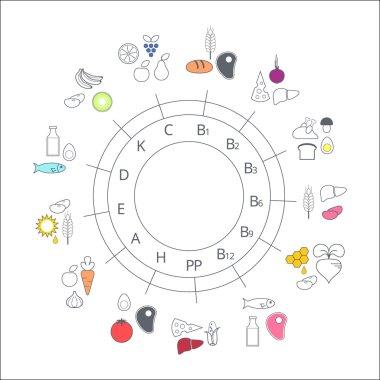 Diagram food sources of vitamins