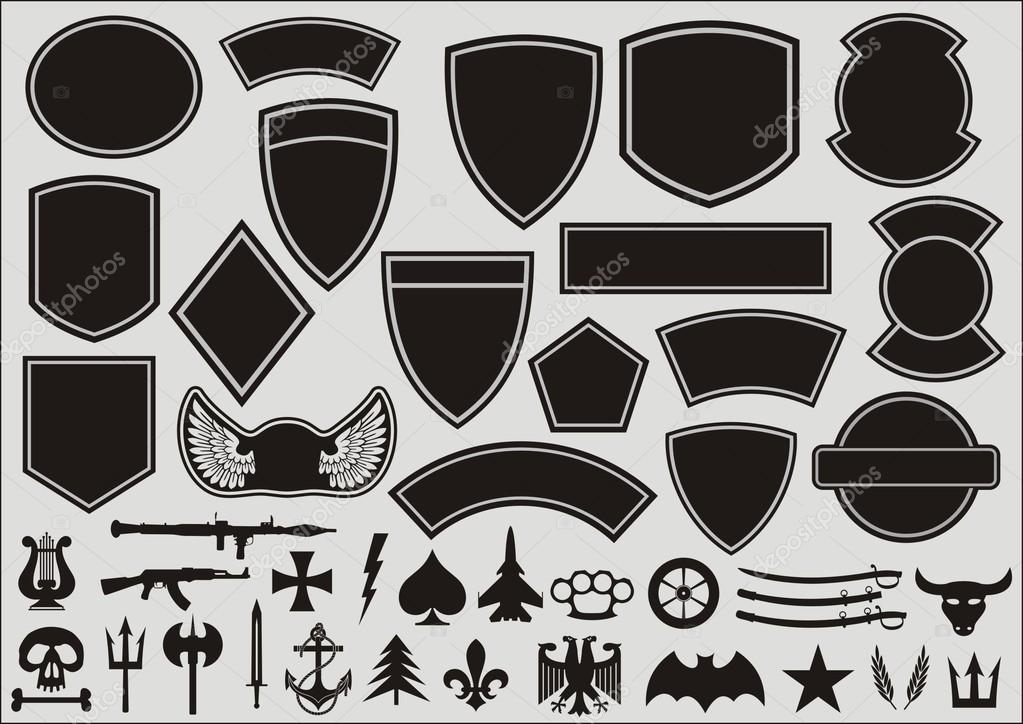 set for designing of military patches stock vector posadnik