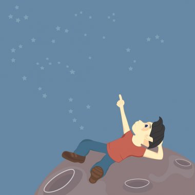 A boy sits on the surface of the moon and explores the constellations in the sky (alien or just a dream)