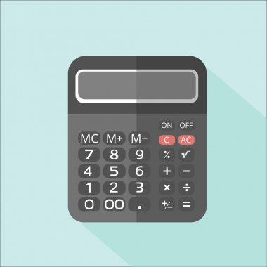 Icon simple calculator on a blue background
