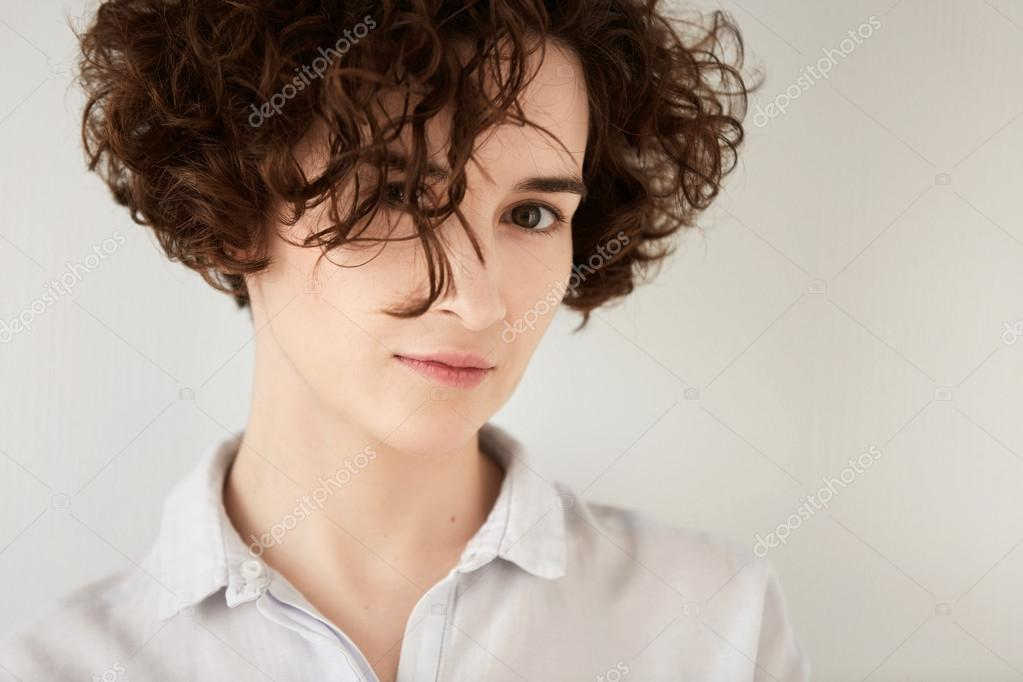 hair style for wavy hair isolated headshot of beautiful with 3763