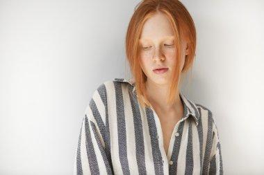 female student wearing striped pajamas