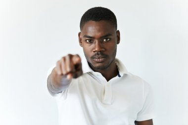 African man pointing at camera