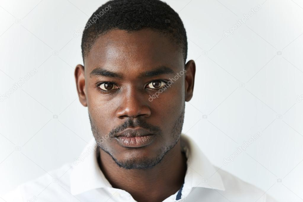 highly detailed close up portrait of handsome young african american