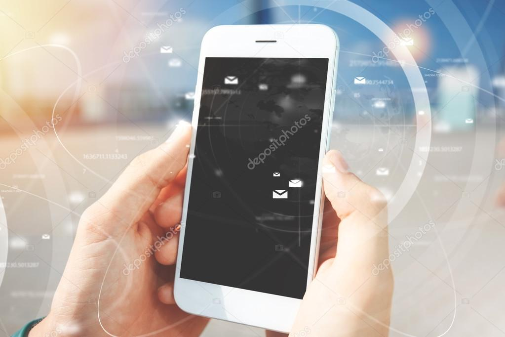 Double exposure. Worldwide connection interface, visual effects. Student posting photos, messaging friends via social networks using mobile phone with blank touch screen. People and technology concept