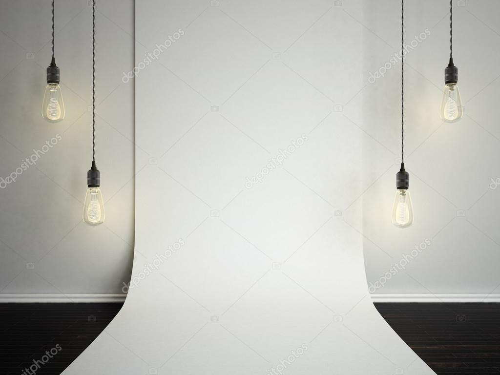 Blank folded white wall  Template mock up3d illustraton for