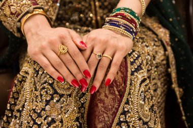 Beautifully decorated Indian bride hands