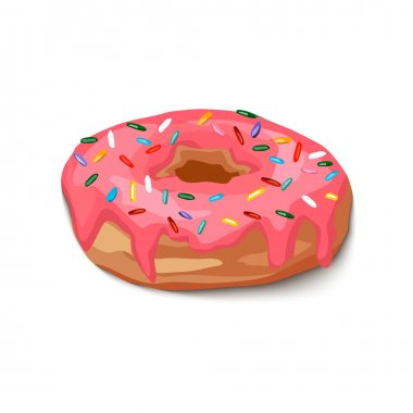 Donut with pink icing and multi-colored powder,