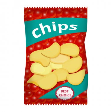 Chips with red caviar, packaging design