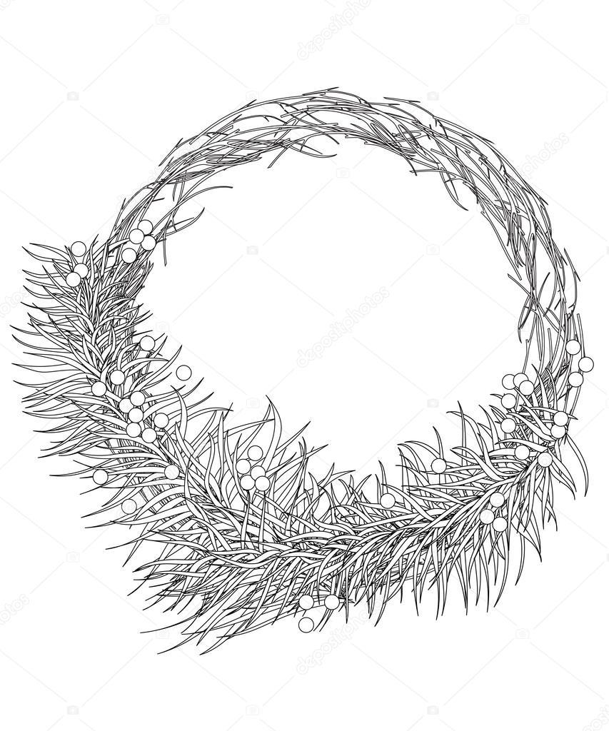 Weihnachten Kranz Tanne Zweige Mit Beeren Seite Malvorlagen Für