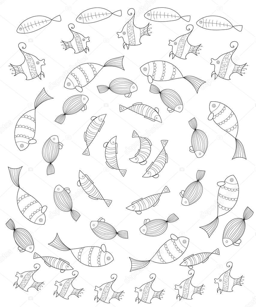 Jeu de poisson Page  colorier pour les adultes jeu de poisson stylisé placé dans un cercle