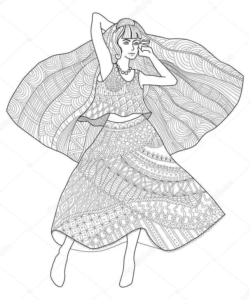 Kleurplaten Voor Volwassenen Handen.Hand Getekende Mode Meisje Tekening Antistress Pagina Kleurplaten