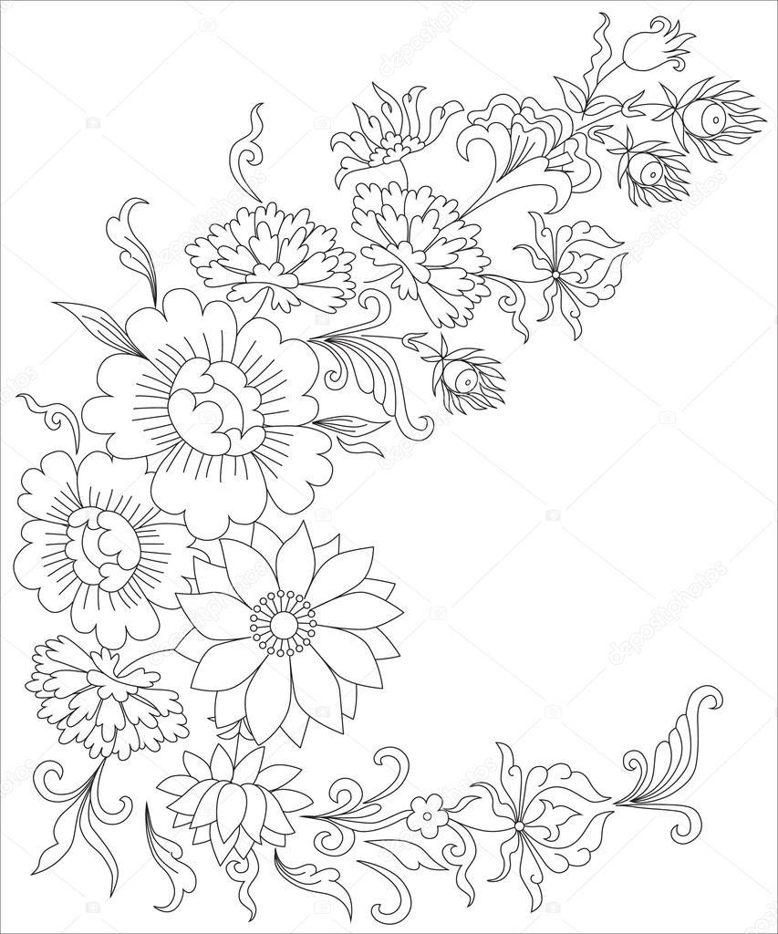boeket bloemen kleurplaten pagina voor volwassenen