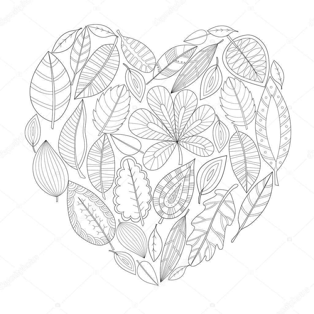 hojas en forma de corazón para colorear para adultos — Archivo ...