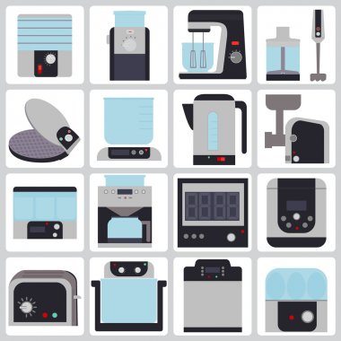 set of icons of small household appliances for the kitchen