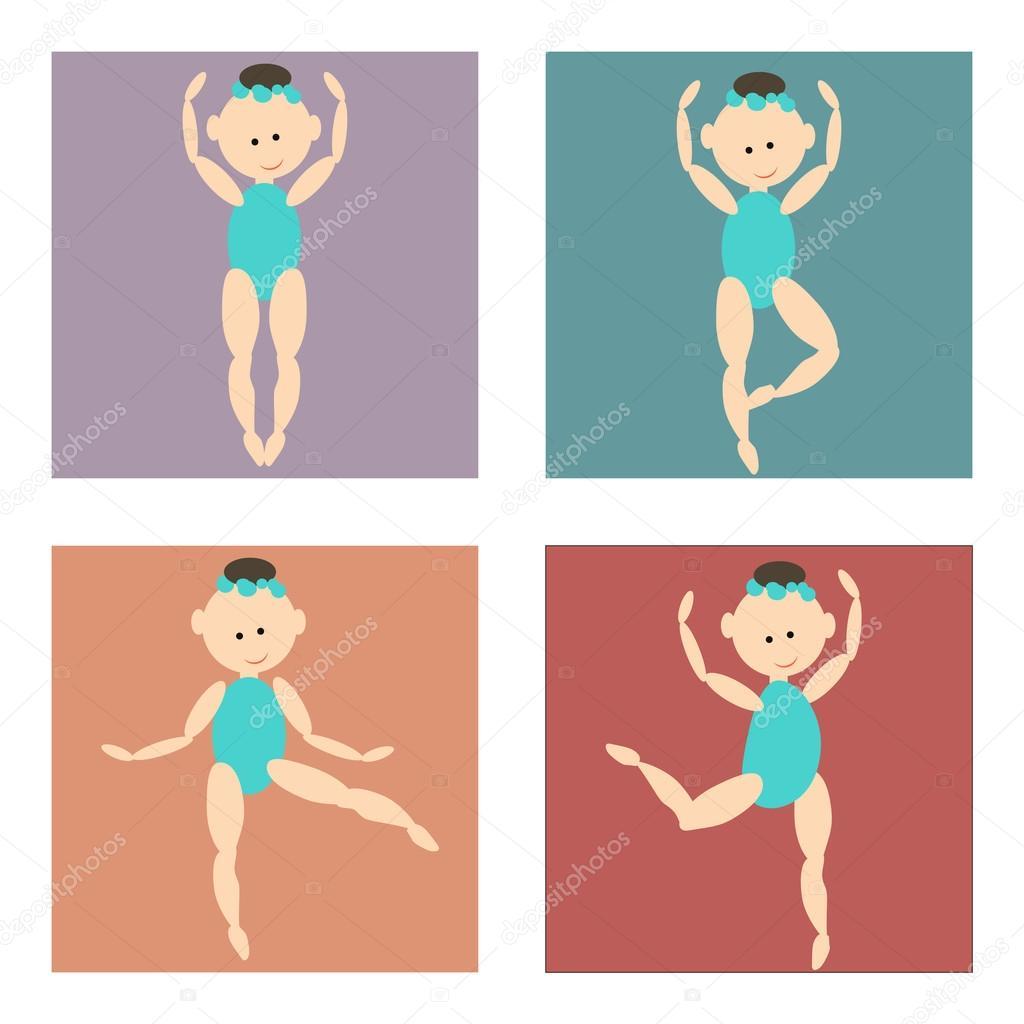 conjunto de ícones coloridos menina dos desenhos animados em um