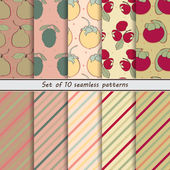 Photo set of seamless colored fruit and striped patterns, fruit background
