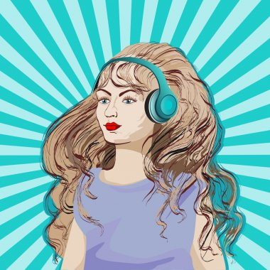 girl in headphones with long hair listening to music, pop style