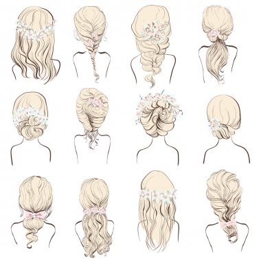 set of different hairstyles, wedding hairstyles,isolated on a white background