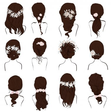 set of different hairstyles, wedding hairstyles, hair styles with flowers,
