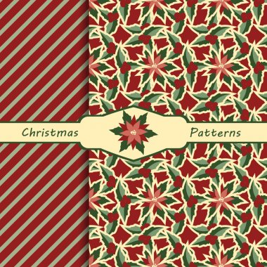 set of seamless patterns Christmas background, traditional colors, vector illustration
