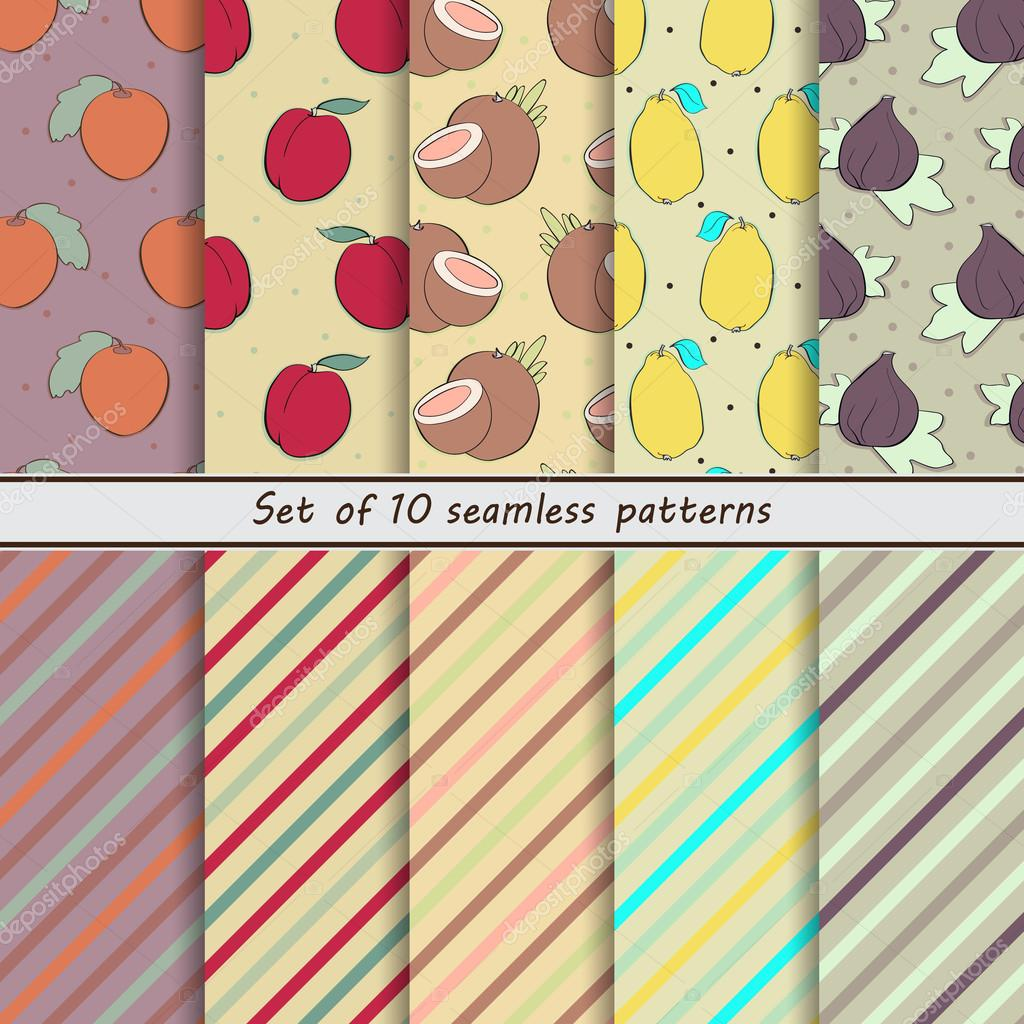 set of seamless  patterns, fruit,naranjilla, nectarine, coconut, lemon, fig, scrap paper, background, hand drawn, dot, stripe, oblique, colorful, companies, small, simple