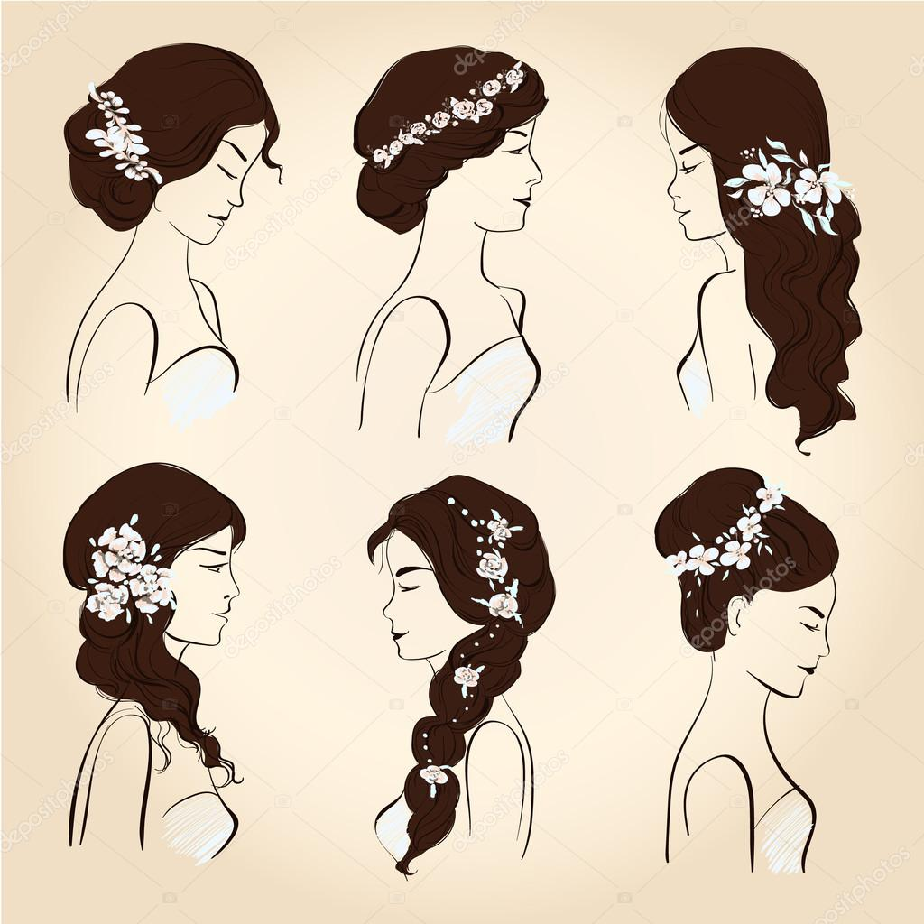 set of wedding hairstyles, sketch, head of a young woman in profile ...